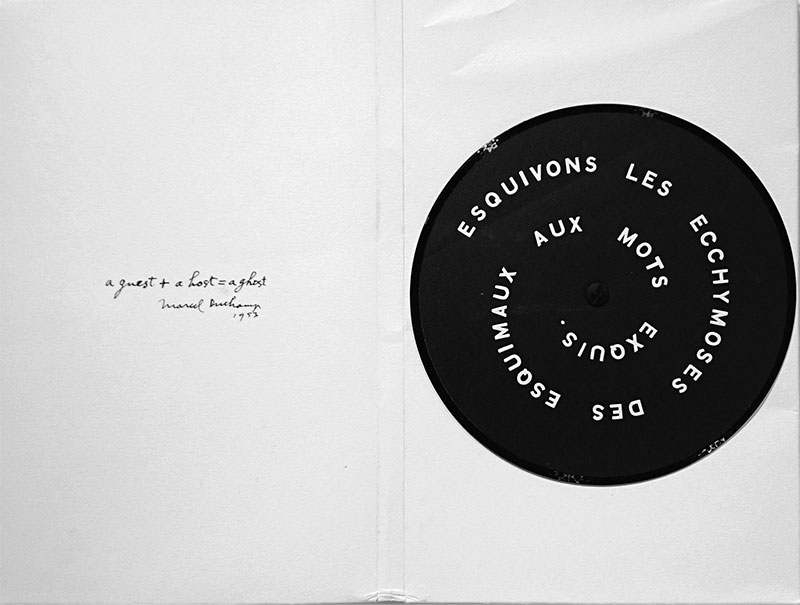 Marcel Duchamp、Contrepeterie Record 1968 SMS(SMSより)